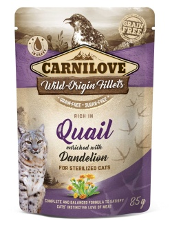 Carnilove Cat Pouch Quail enriched with Dandelion for sterilized 85 g