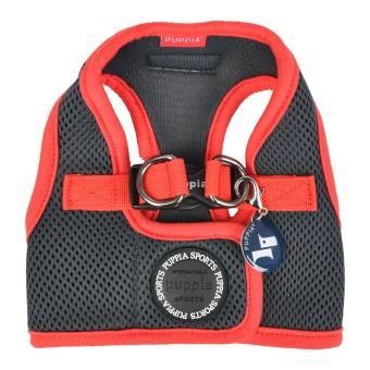 Puppia Soft Vest harness Grå med röd kant