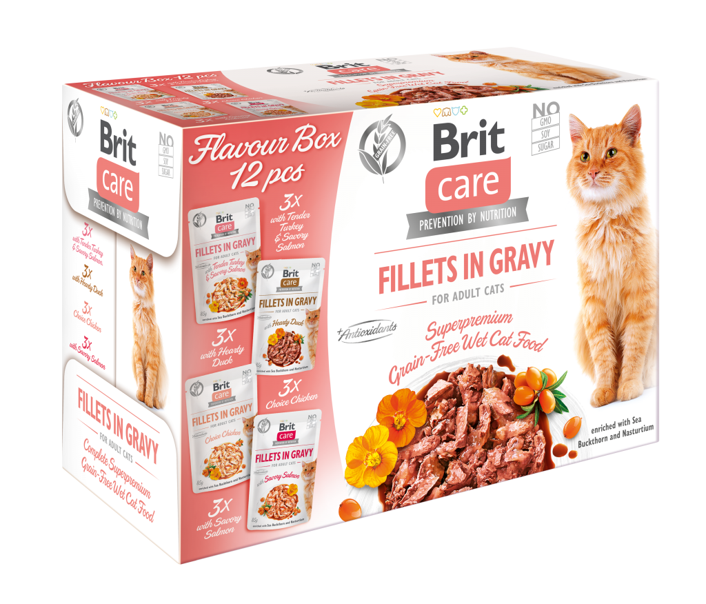 Brit Care Cat Pouch, Flavour Box Fillets in Gravy 12x85 g